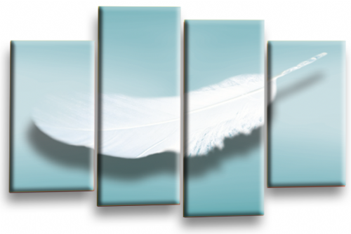 Modern Abstract Wall Art Picture Feather Love Print Teal White